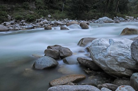 River at Tirthan Valley. Distance from Delhi- 500 kms. +